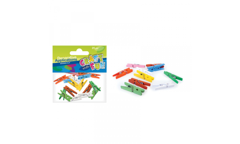 CRAFT with FUN Wooden Mini Clothes Pegs, 25Pcs, (New Lower Price for 2021)