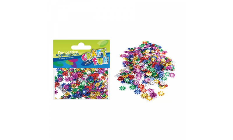 CRAFT with FUN Metallic Sequin Flower 12mm.  (New Lower Price for 2021)