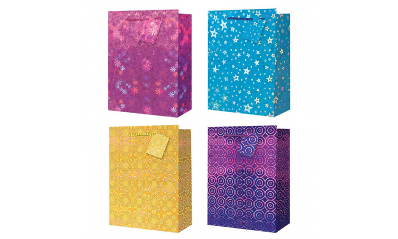 Just to Say Holographic Gift bag, Rope Handles & Tag Medium H 230 x W 180 x D 100mm