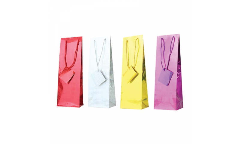 Just to Say Holographic Gift bag, Rope Handles & Tag Bottle H360 x W120 x D 82mm