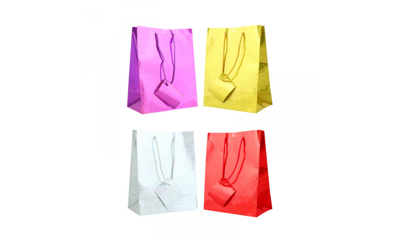Just to Say Holographic Gift bag, Rope Handles & Tag Large H 320 x W 260 x D 120 mm