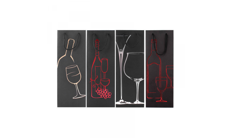 Just to Say Deluxe Foiled Black Bottle Gift Bags, 4 asstd, H 360 x W 120 x D82 mm
