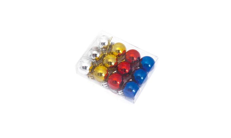 Xmas Metallic 28cm Hanging Balls 12 Pack 4 Asstd