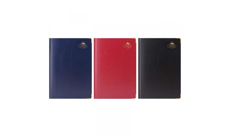 A4 Supreme Padded Cover, 2022 Daily Sewn Desk Diary, Gilt Corners, 70gsm Paper, Gilt Edges, 3 Asstd Colours