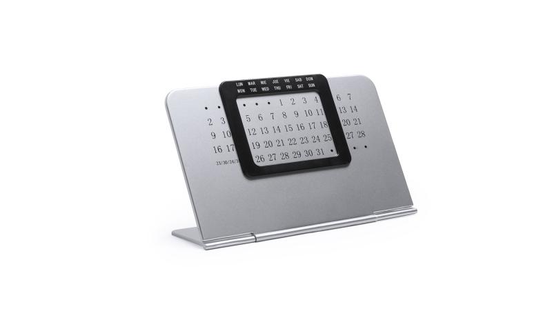 Silver Perpetual Desk Calendar, large overprint area