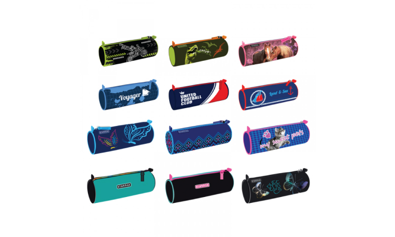 Starpack Tubular Zipped Pencil Case, 12 Asstd Designs. (New Lower Price for 2021)