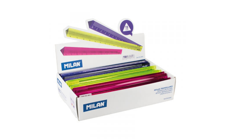 Milan Neon Colours Acrylic Triangular 15cm Rulers, 3 Asstd (New Lower Price for 2021)