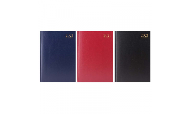 A4 Jumbo Hard Cover, Clothbound, 2022 Appointments Desk Diary, 2 Pages for every Day. 24 Hour Booking.