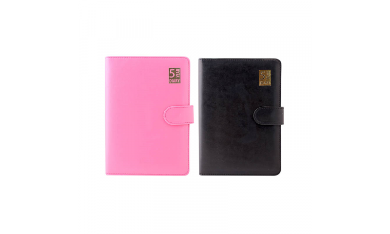 5 Year A5 Daily Organiser, Undated Sections, Magnetic Flap, 2 Asstd: