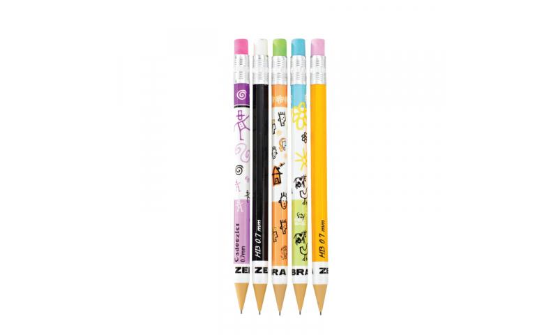 Zebra Cadoozles Mini Automatic Pencil, 5 asstd