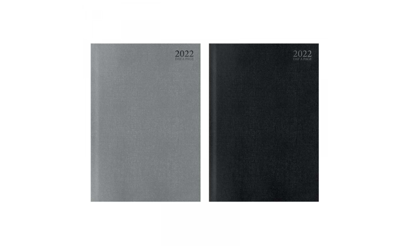 A4 Hardcover Sewn Daily 2022 Desk Diary, Black & Silver Luxury Finishes