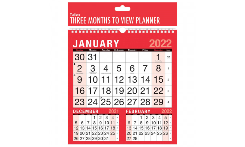 Easy View 24x25cm, 3 Month to View Wall Calendar 2022, Spiralbound (New Lower Price for 2021)