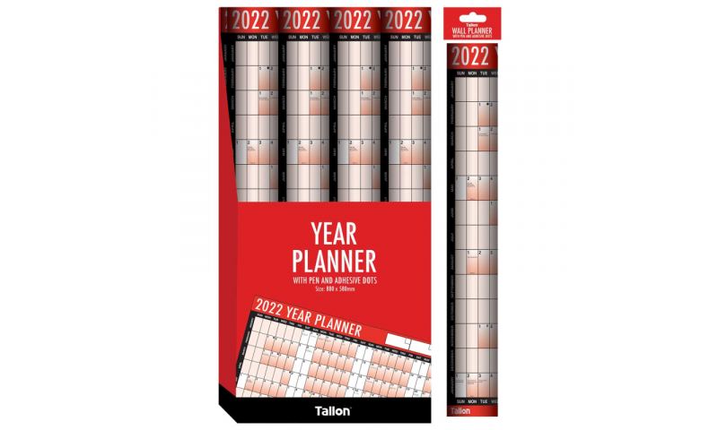 Unmounted Yearly Wall Planner 2022 With Pen & Accessories. (New Lower Price for 2021)