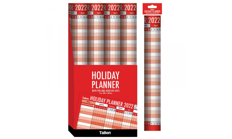 Unmounted 2022 Staff Holiday Planner With Pen & Accessories.