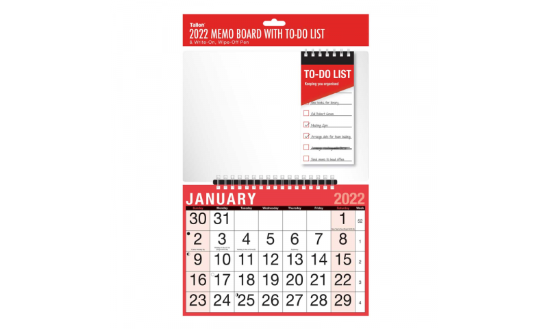 Easy View Wall Calendar Month to View 2022, 12 Page, with Additional Memo Board & Pen