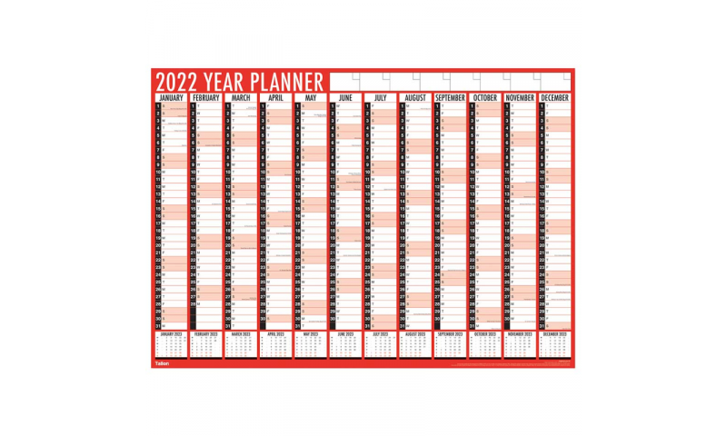 Easyview Vertical Unmounted Year Planner 2022, A2 Size Folded.