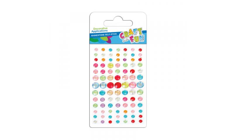 Craft with Fun  Rhinestone Stickers, Asstd Colours, 90pk