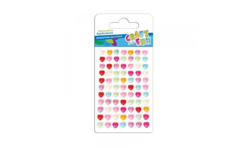 Craft with Fun  Rhinestone Stickers Mini Hearts, Asstd Colours