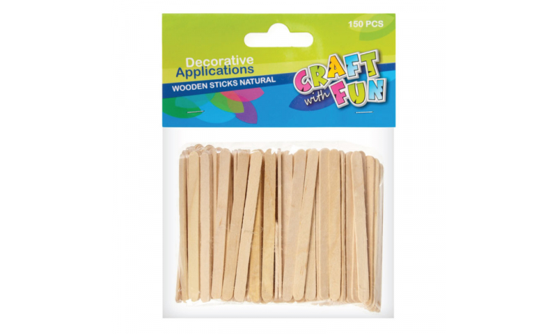 CRAFT with FUN Mini Natural Wooden Lollipop Sticks 150pk (New Lower Price for 2021)