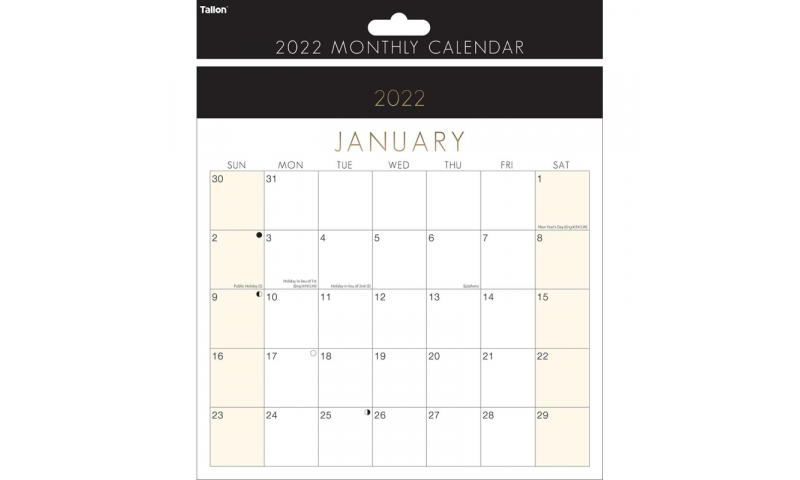 Easy View A4 Bold Date Monthly Wall Calendar 2022, Spiralbound. (Most Popular Size)