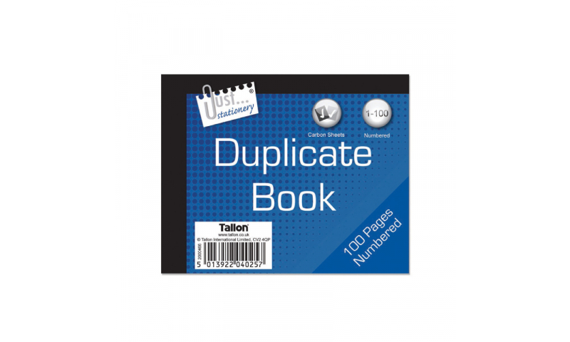"""Just Stationery Duplicate Book 5x4"""" 1-80 includes x2 carbon sheets"""