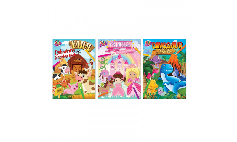 Childrens Colouring & Sticker Books A4 3 Asstd (New Lower Price for 2021)