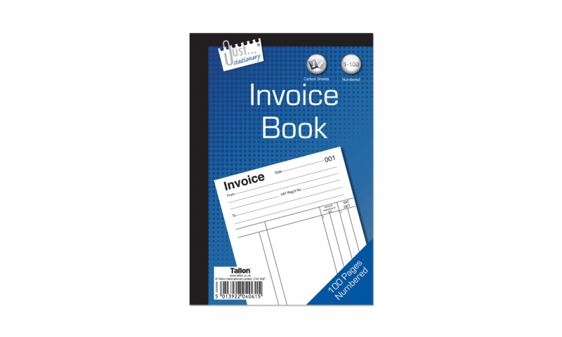 """Just Stationery Duplicate Invoice Book 8 x 5"""" 80 Pages"""