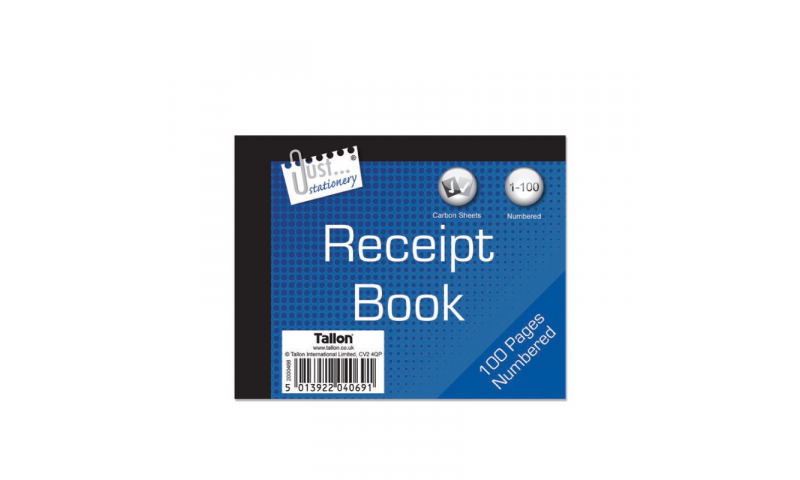 """Just Stationery Duplicate  Receipt Book 5 x 4"""" 80 pages"""