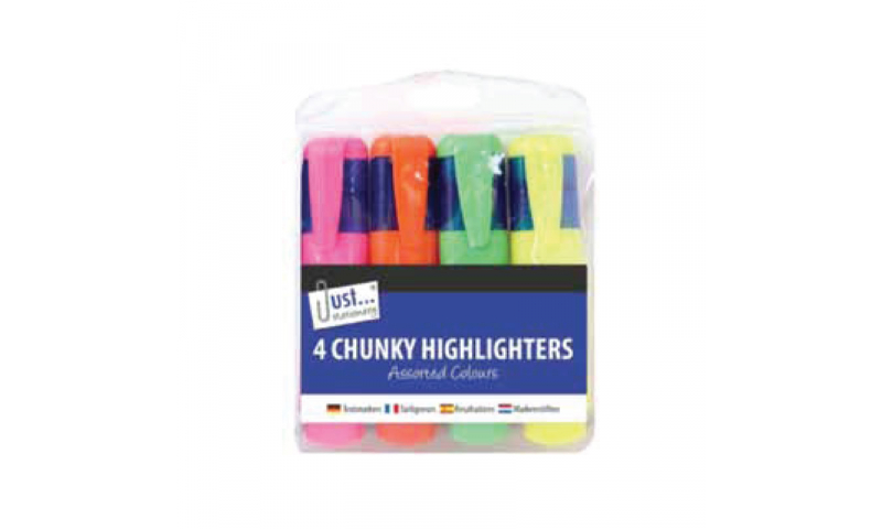 Just Stationery Highlighters, wallet of 4, NEW Saver price for Multiple packs!