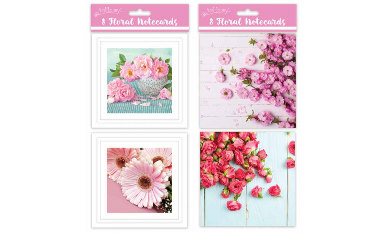 Just to Say Note Cards, 4 Floral Designs, Large 135 x 135mm Pack of 8 (New Lower Price for 2021)