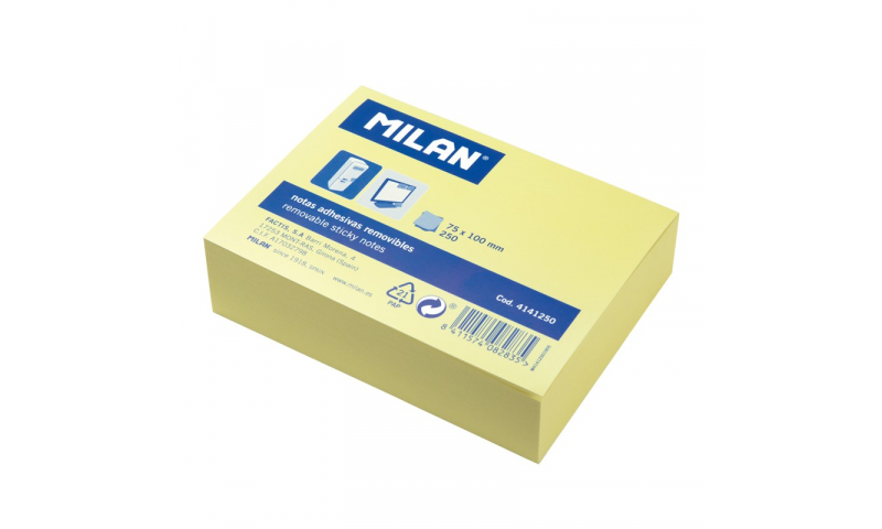Milan Adhesive Sticky Notes Yellow, Jumbo Pad 250 Sheets 100x75mm (New Lower Price for 2021)