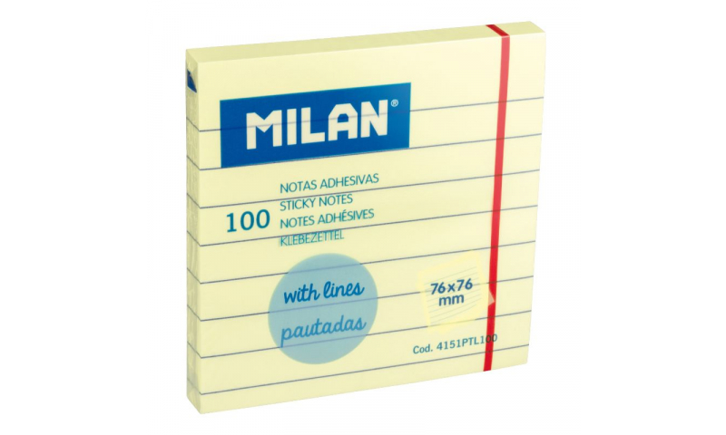Milan 76x76mm Yellow Sticky Note Pad 100sh, with Lines