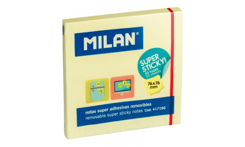 Milan 76x76 Square Super Sticky Note Pad Yellow 90 Sheets