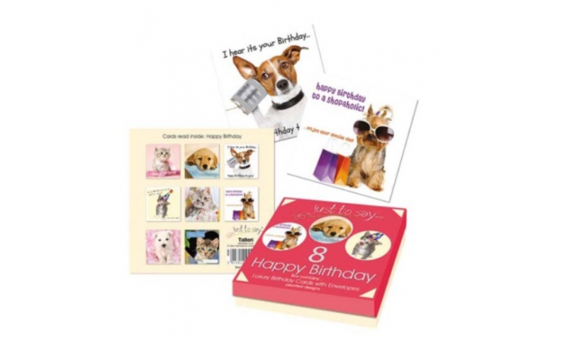 Just to Say Pets  Design Birthday Cards, Pack 10 in box (New Design)