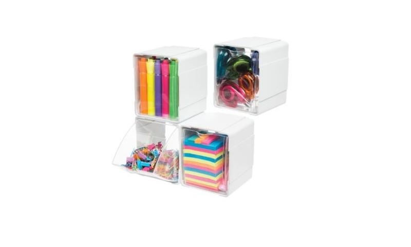 Deflecto Craft Storage Cubes, 4 Pcs Stackable & Tilt Entry Feature