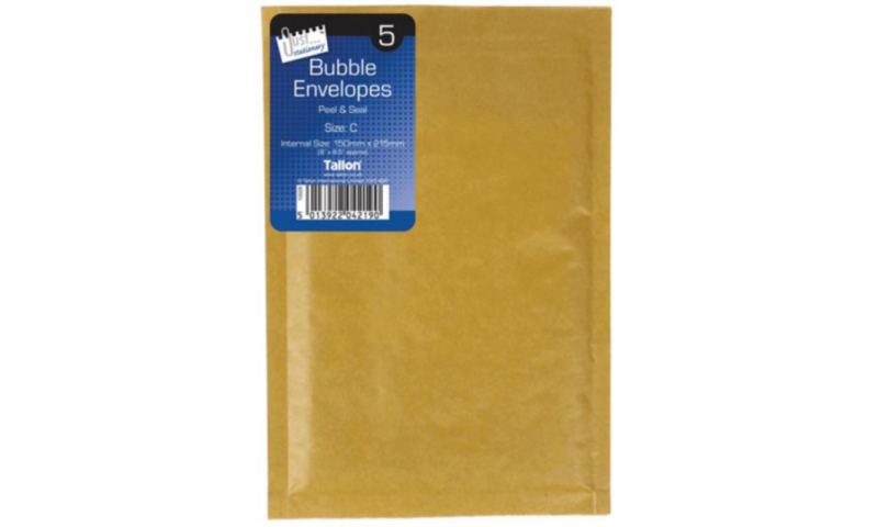 Just Stationery Bubble Padded Envelopes, Retail Pack of 5, Size (C/0) 150x215mm