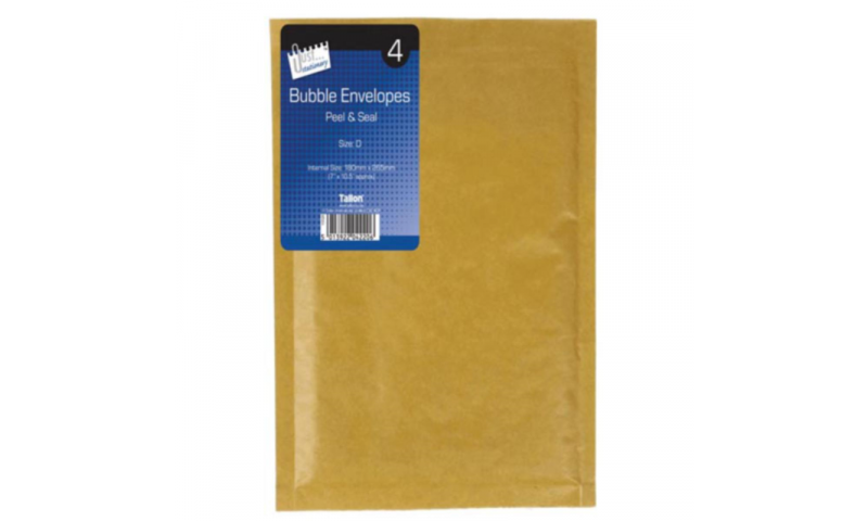 Just Stationery Bubble Padded Envelopes, Retail Pack of 4, Size (D/1) 180x265mm