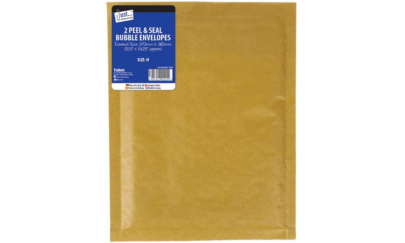 Just Stationery Bubble Padded Envelopes, Retail Pack of 2, Size (H/5) 270x360mm