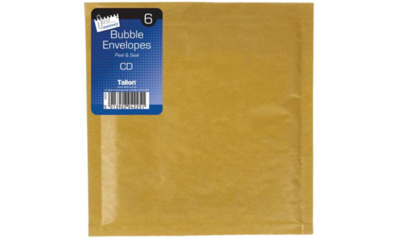 Just Stationery Bubble Padded Envelopes, Retail Pack of 6, CD Size, 140 x 170mm