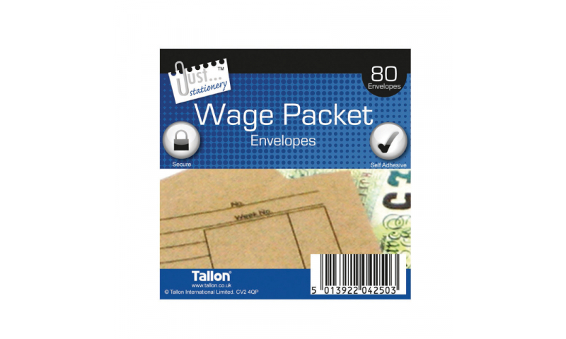 Just Stationery Wage Packet envelopes 100x 110mm Pack of 80