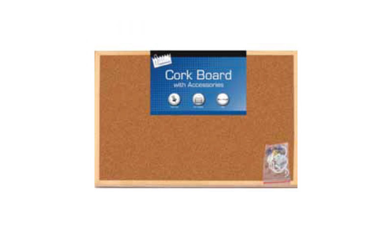 Just Stationery Cork Board A3 30 x 45cm, With Accessories
