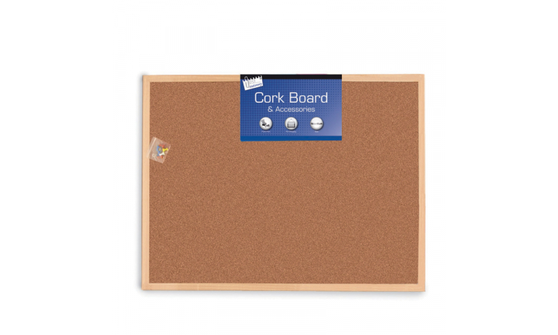 Just Stationery Cork Notice Board, Wooden Frame, 600 x 800mm (New Lower Price for 2021)