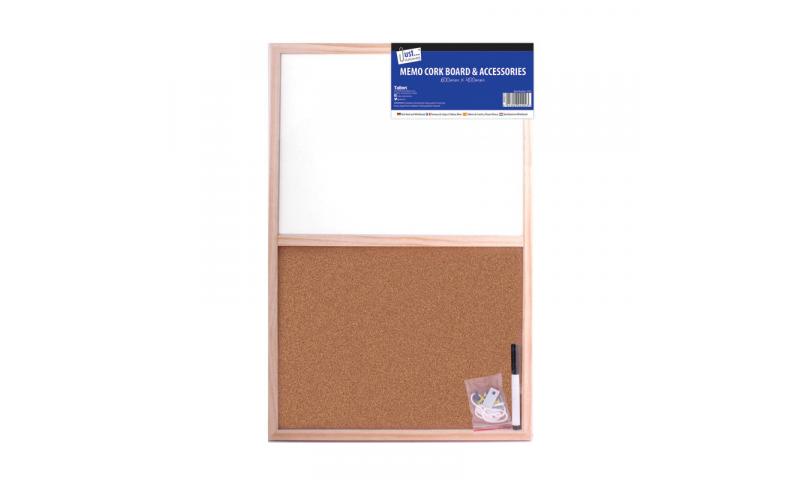 Just Stationery Split Cork & Whiteboard 40x60cm