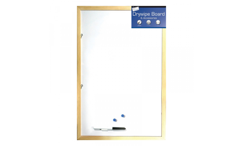 Just Stationery Wood Frame Dry Wipe Board 400x600mm & Marker & Accessories