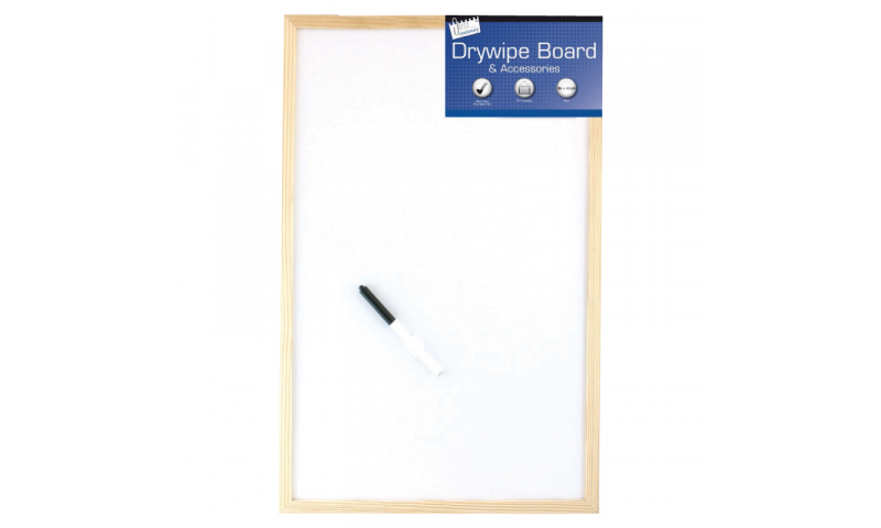 Just Stationery Wood Frame Dry Wipe Board 600x800mm & Marker & Accessories.