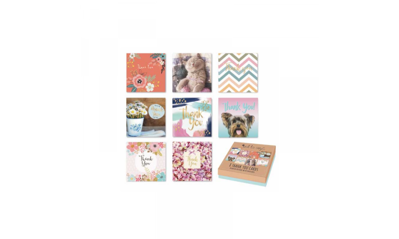 Just to Say Thank You cards, Pack of 8 Asstd Designs, Gift Boxed (New Reduced Price for 2020)