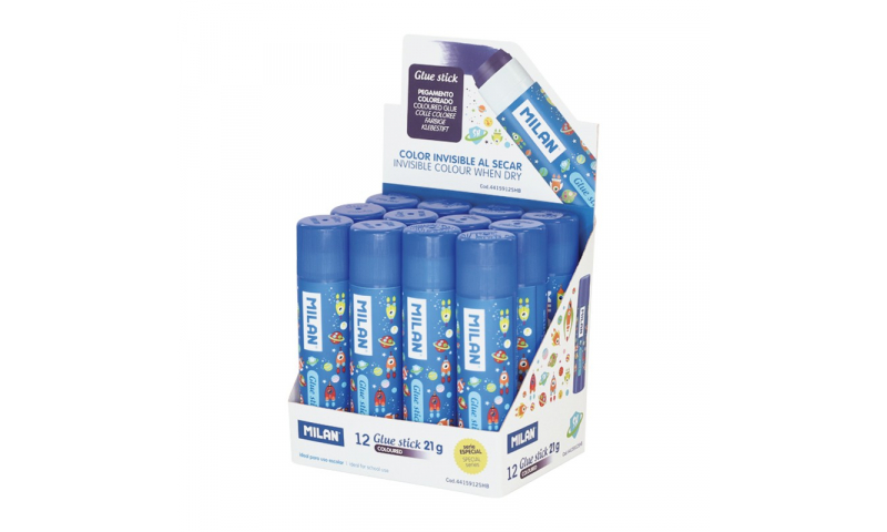 MILAN Colour Changing Glue Stick Medium Blue SPACE SERIES 21g - in CDU (New Lower Price for 2021)
