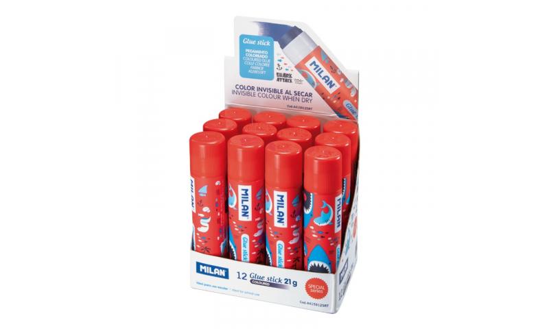 MILAN Shark Attack Colour Change Glue Stick Medium Blue 21g. (New Lower Price for 2021)