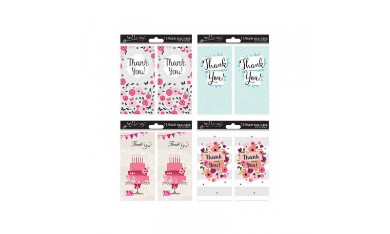 Adult Thank You Cards 4 Asstd, 16 Pack with Envelopes