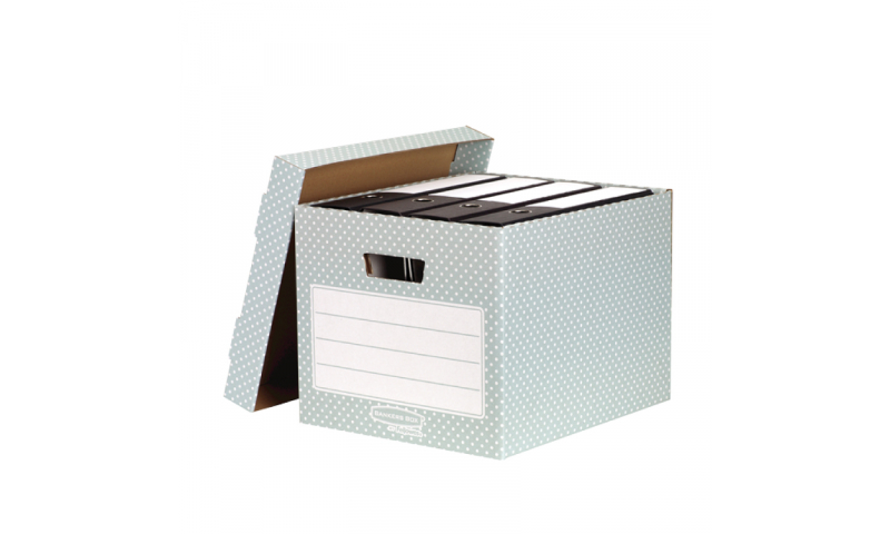 Fellowes Style Fastfold Storage Box, 100% Recycled, Green / White - Pack of 4. (New Lower Price for 2021)